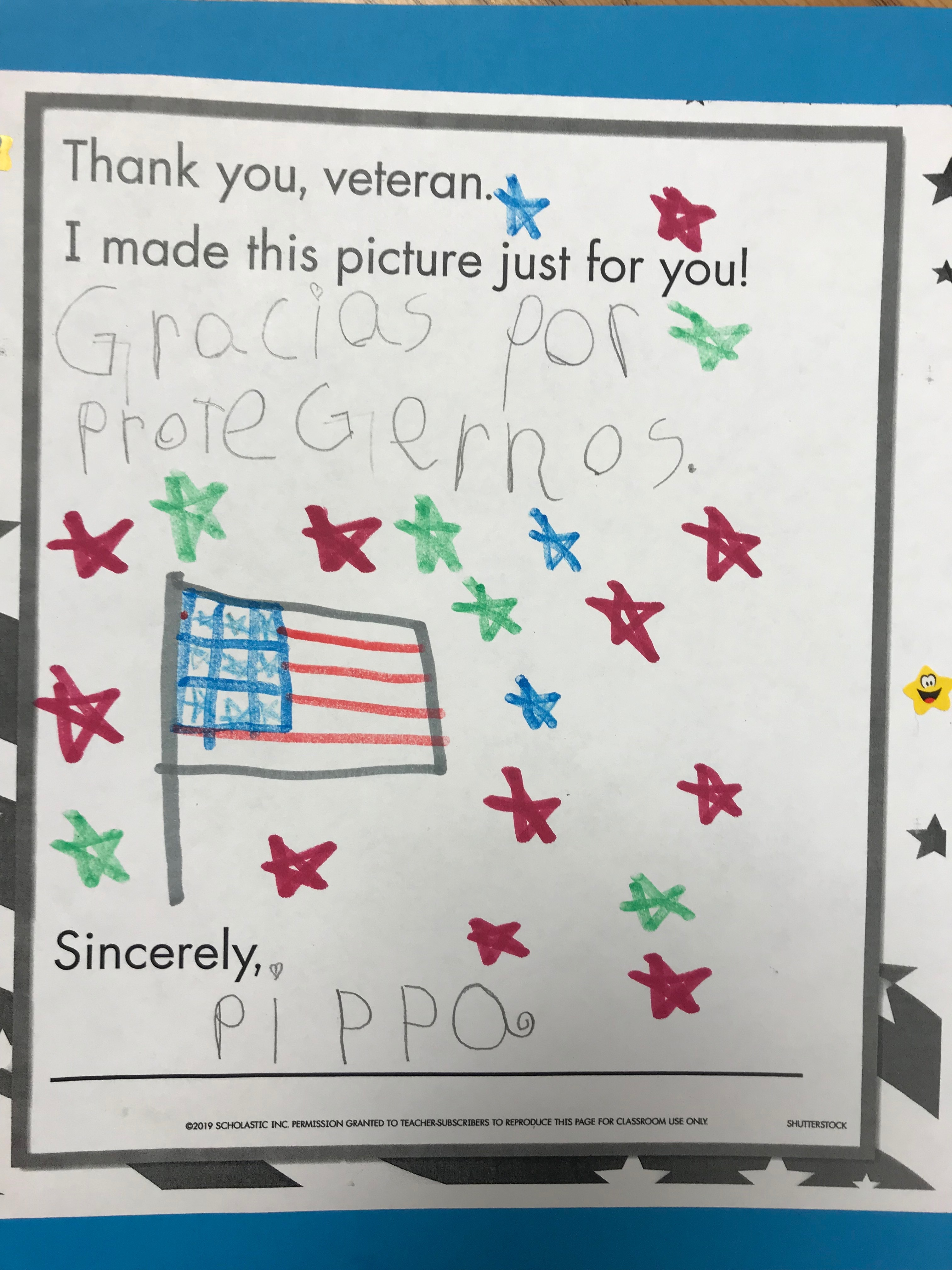Veterans Day picture drawn by students.